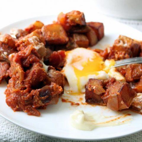 Breakfast Patatas Bravas with Eggs