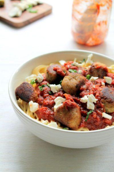 feta and eggplant vegetarian meatballs recipe