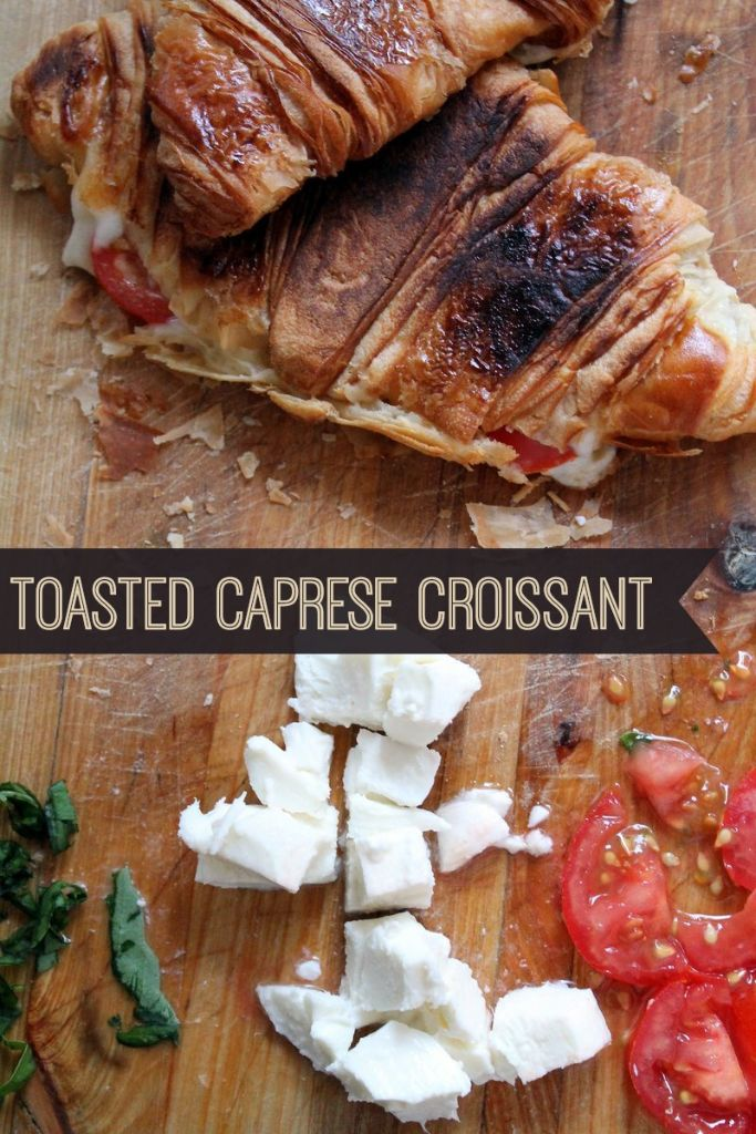 The perfect vegetarian breakfast sandwich! A toasted croissant with a melted mozzarella cheese and tomato filling. If you're looking for a new croissant sandwich filling idea, this is the one to try.