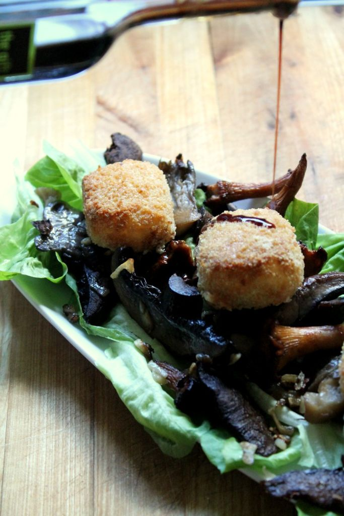 wild mushroom and truffled honey goats cheese salad