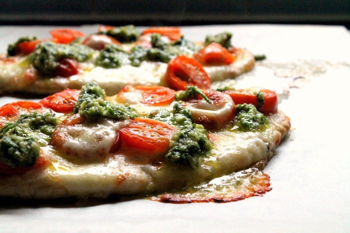 pita pizza + chive pesto
