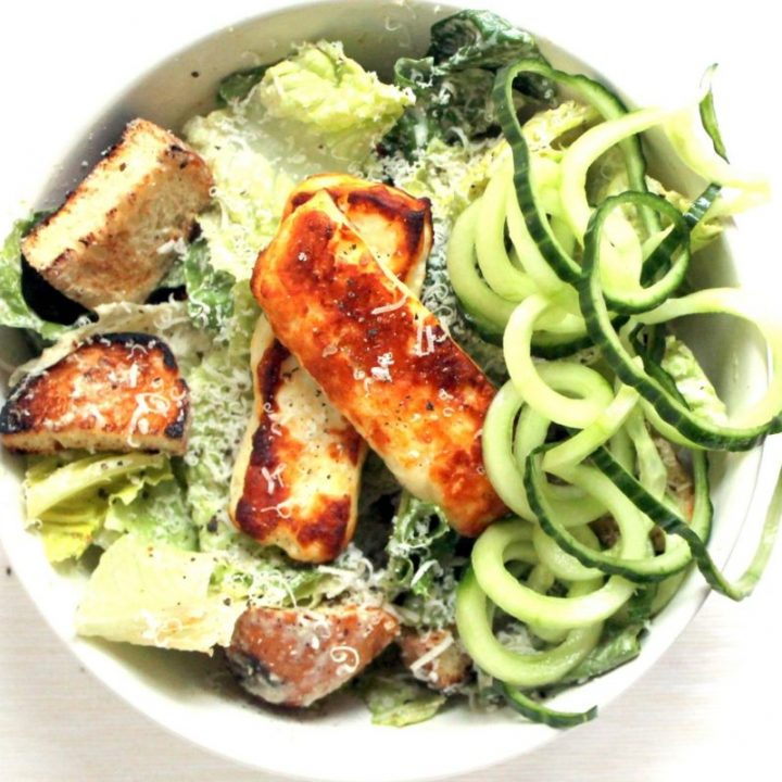 Greek Yogurt Caesar Salad with Halloumi