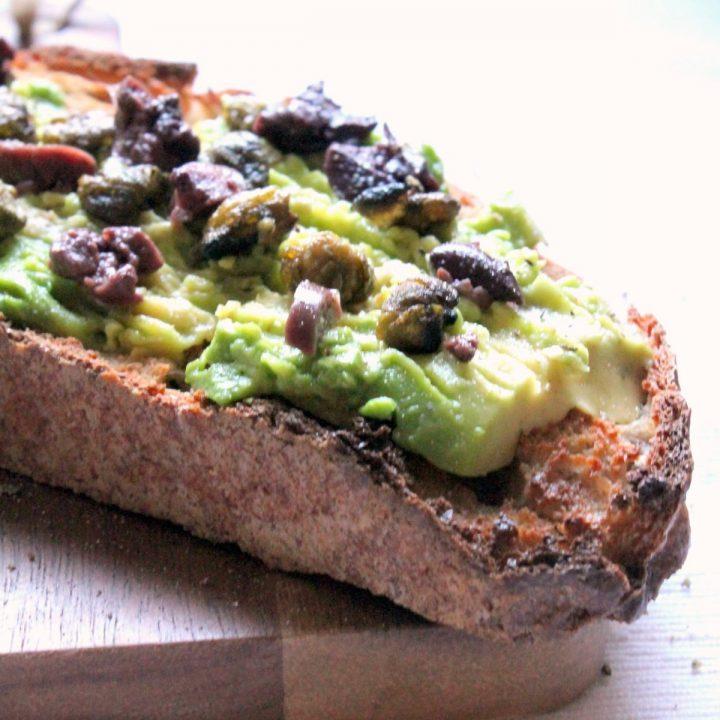 avocado toast with fried capers & kalamata olives