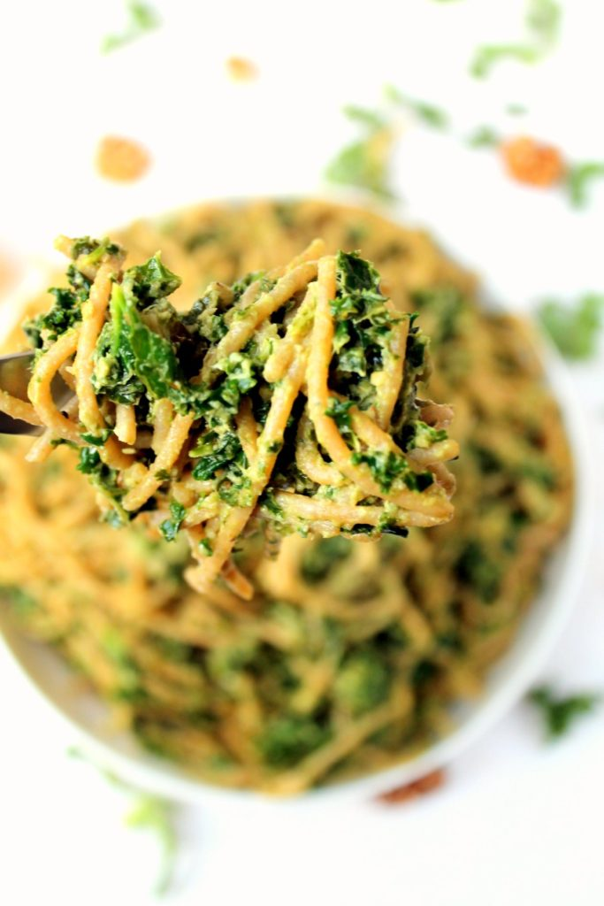 This quick, easy kale avocado pesto pasta is a deliciously simple recipe, with a creamy texture and tons of flavor. A super healthy but comforting vegetarian and vegan pasta dinner!