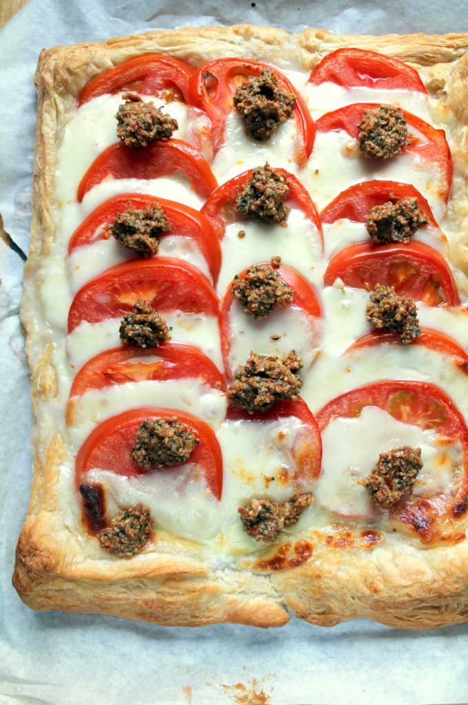 Utterly delicious vegetarian tart. Everyone loves a tomato mozzarella combo, but the dollops of this pesto make it extra special.