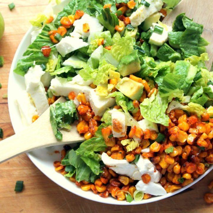 Easy Smoky Roasted Corn Salad with Avocado & Mozzarella