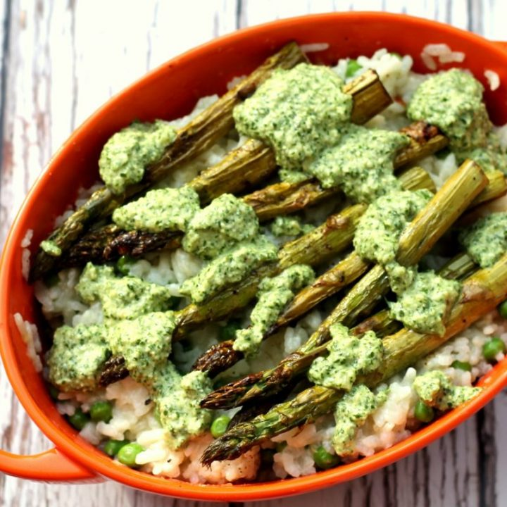 Vegan Pea & Asparagus Risotto with Pesto {Oven Baked}