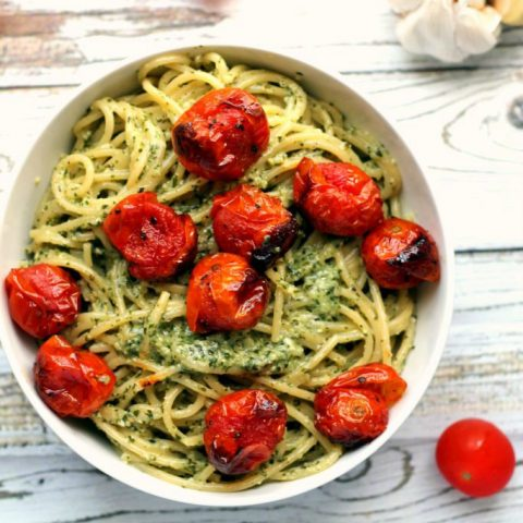 Roasted Garlic Pesto Spaghetti with Blistered Cherry Tomatoes