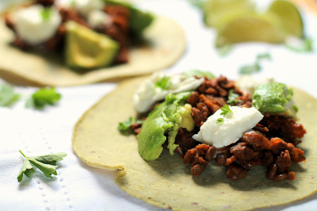 These easy vegetarian lentil tacos are ready in under 30 minutes! The lentils are deliciously spiced and smoky, with fresh tangy mozzarella and creamy avocado to top it off. Using canned green lentils makes this recipe come together quickly and easily, for a healthy 30 minute dinner.