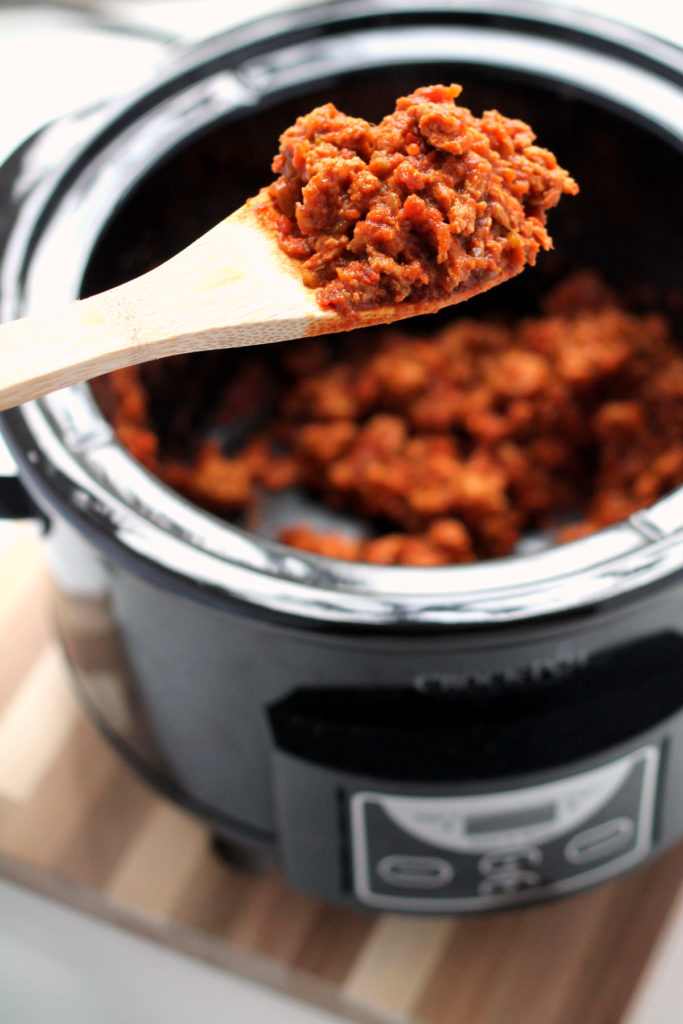 It's so easy to make this vegan salsa seitan in the slow cooker. The seitan does not need to be pre-made, just put the dough in with the salsa and let the crockpot work it's magic. Make a big batch and feast on vegan tacos, enchiladas and burritos all week!