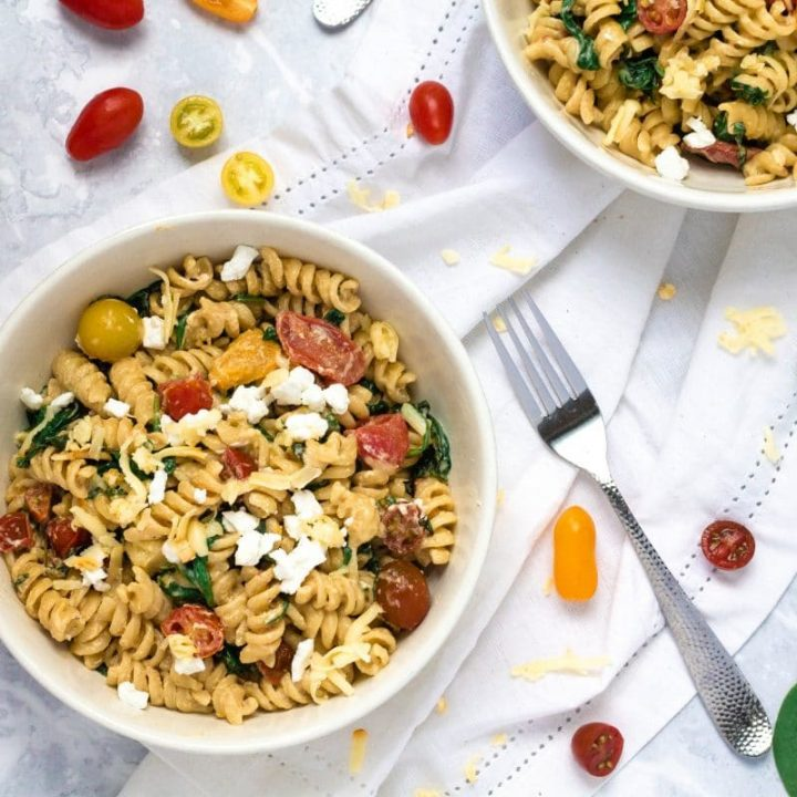Creamy Spinach Pasta with Goat Cheese & Cherry Tomatoes