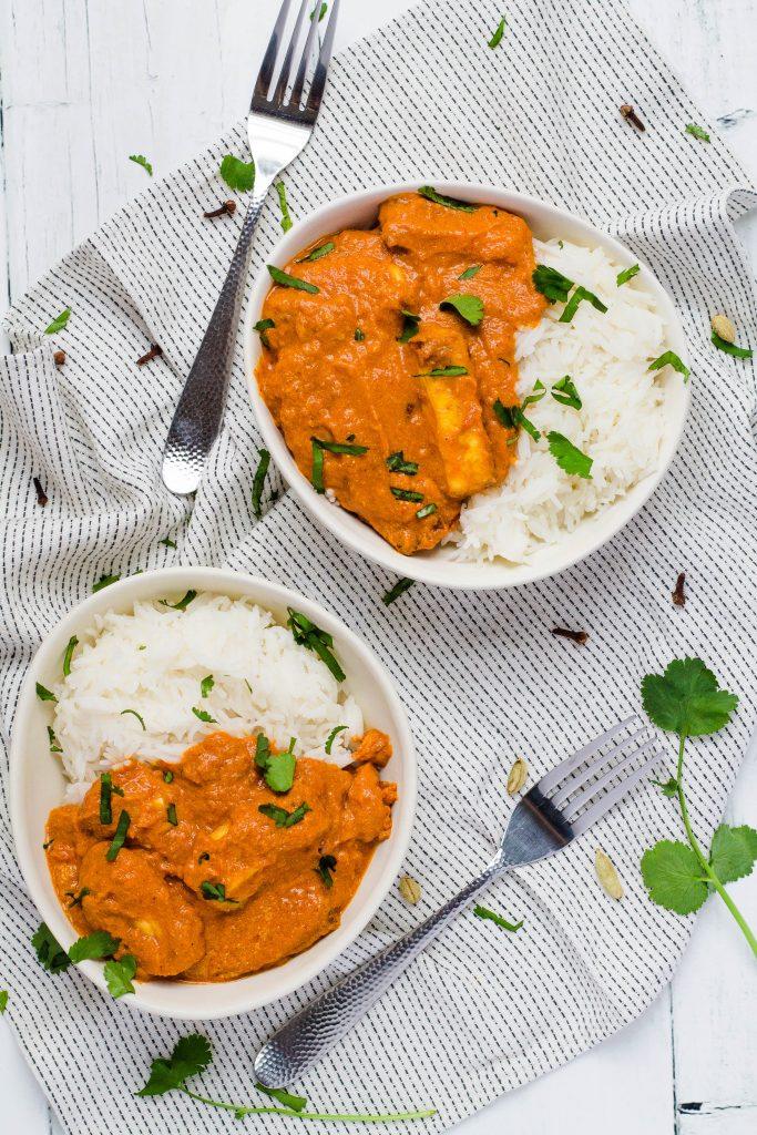 Bowls of Halloumi curry