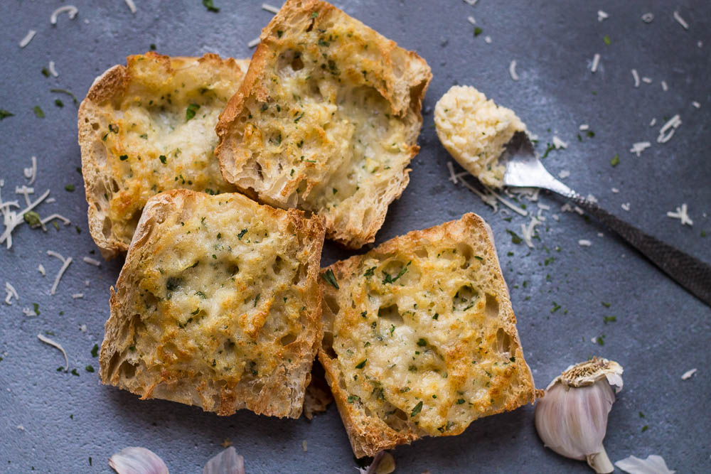 Four slices of garlic bread made in the air fryer