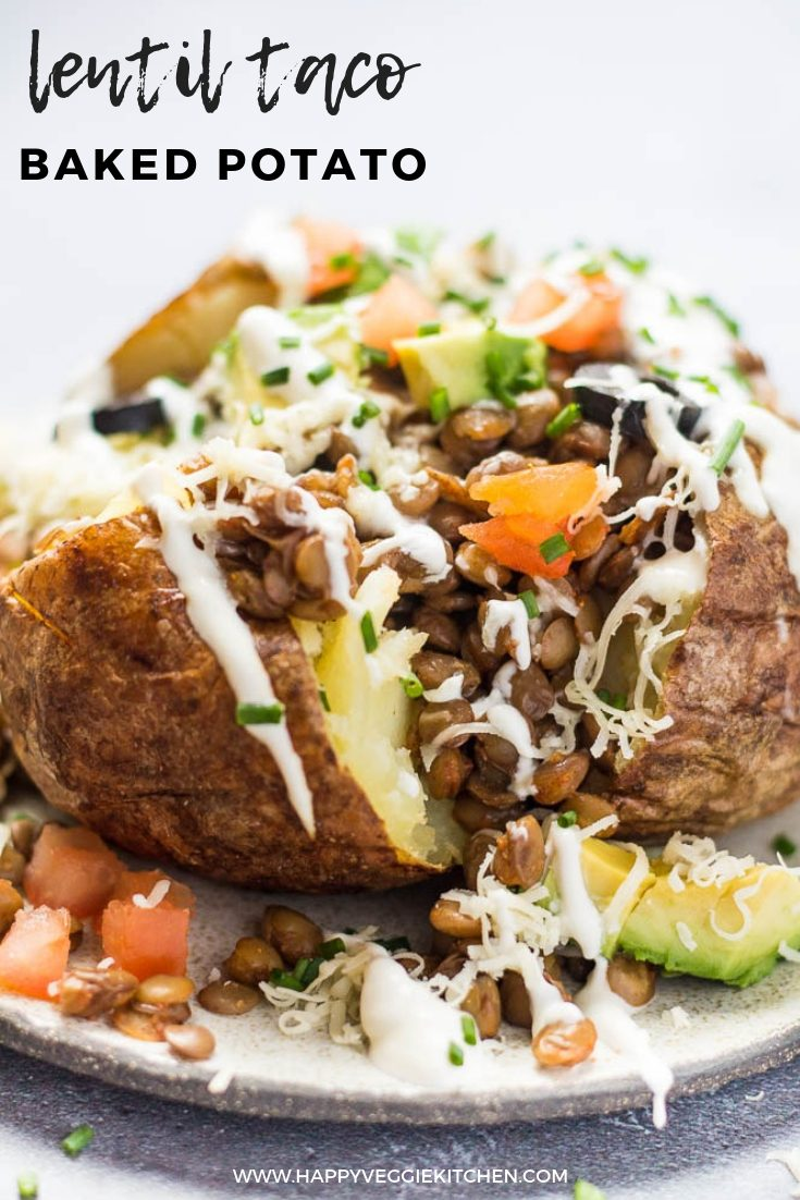 Baked potatoes stuffed with a vegetarian lentil taco filling and all your favorite toppings! A healthy, fun meal that the entire family will love. Canned lentils make for a fast and easy vegetarian baked potato filling which brings lots of protein to the table.