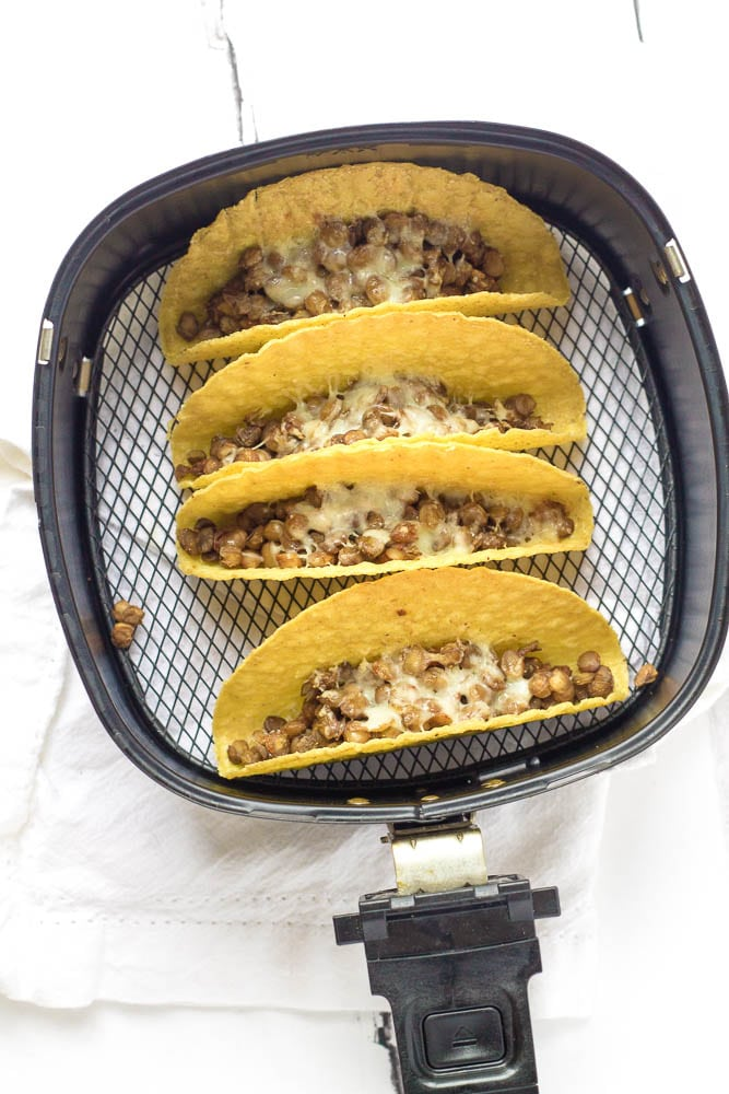Hot tacos fresh from the air fryer.