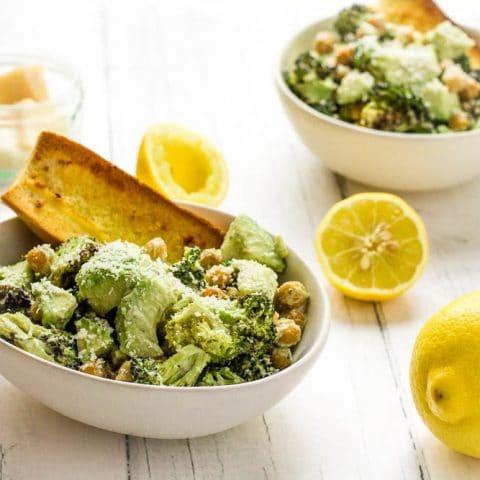 Warm Broccoli Caesar Salad