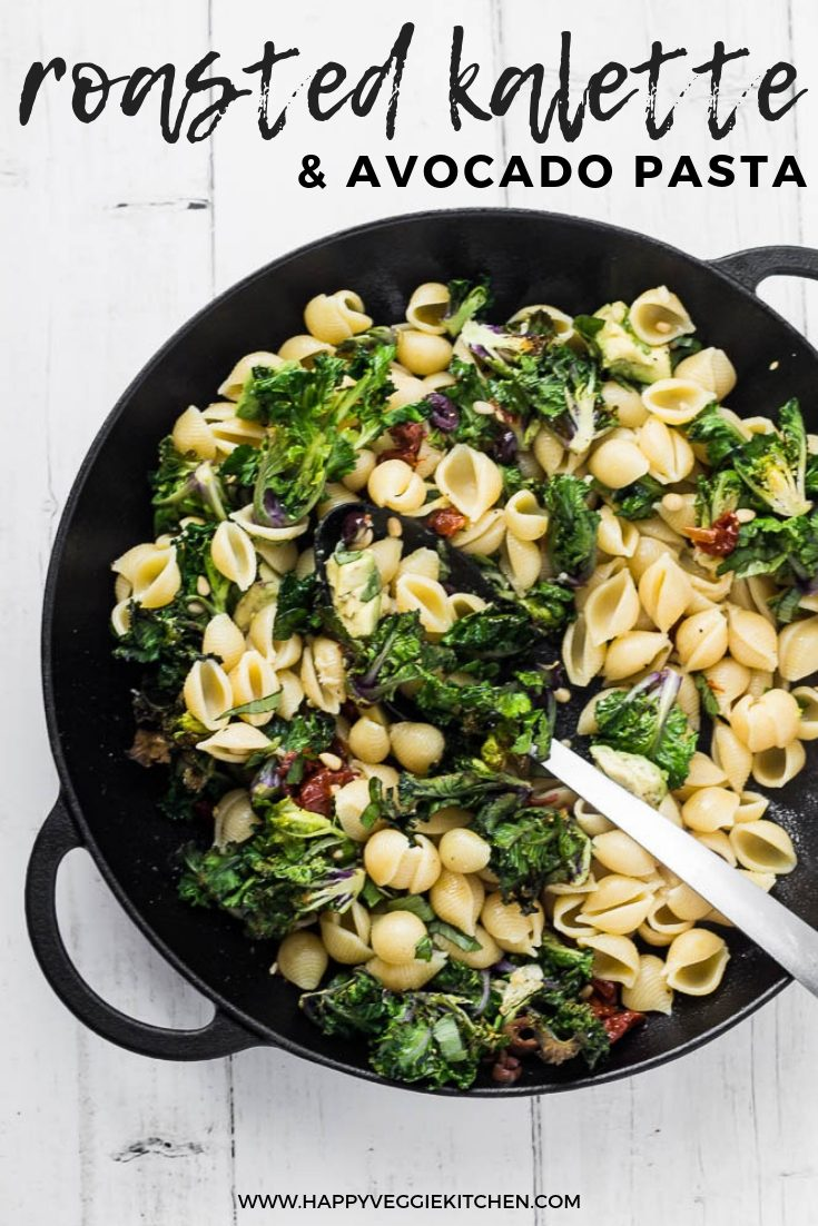 A delicious kalette (kale sprout) pasta recipe with avocado, sundried tomato and pine nuts. Kalettes, also known as kale sprouts, are a hybrid of kale and brussels sprouts - and like both of those vegetables, they taste amazing roasted! This is an easy, healthy and completely vegan dinner full of Mediterranean flavors that comes together in less than 30 minutes.