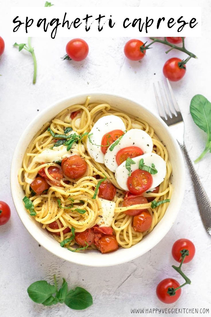 A 15 minute spaghetti caprese recipe, perfect for weeknight meals! If you love the combination of fresh juicy tomatoes, mozzarella and basil, this will become your new favorite simple spaghetti recipe and a go-to for your busy evenings. Everything can be prepared while the spaghetti cooks, making it quick and easy to get a fresh and healthy dinner on the table.