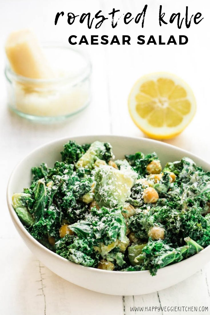 A warm roasted kale salad with chickpea croutons, avocado and a creamy Caesar dressing! This is easy to make with an amazing texture. Served warm, it's the perfect winter or summer side dish or the basis for a light meal. The vegetarian Caesar dressing is greek yogurt based, intensely flavorful and luxurious! #meatlessmonday #cleaneating #vegetarianrecipes #vegetarian