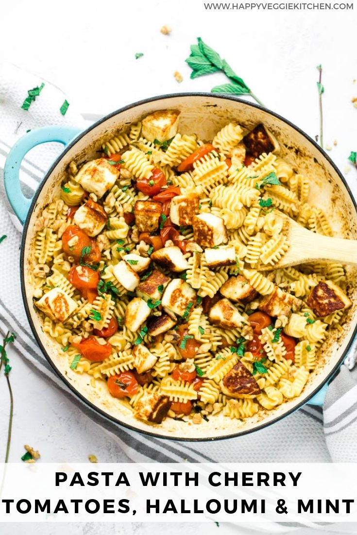 This halloumi pasta recipe is a total delight. With little effort and very few ingredients, you can create a crowd pleasing dinner full of flavor! Roasted cherry tomatoes and halloumi cheese are paired with mint, garlic, and toasted walnuts to make this healthy vegetarian pasta meal.