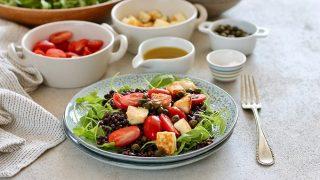 Beluga Lentil Salad with Halloumi Croutons