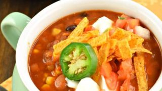 Slow Cooker Lentil Tortilla Soup